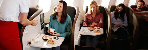 Dining in Upper Class with Virgin Atlantic